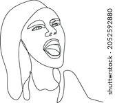 Singing Woman Portrait. Line...