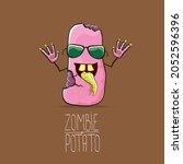 vector funny cartoon cute pink...   Shutterstock .eps vector #2052596396