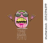 vector funny cartoon cute pink...   Shutterstock .eps vector #2052596399