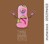 vector funny cartoon cute pink...   Shutterstock .eps vector #2052596423