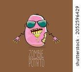 vector funny cartoon cute pink...   Shutterstock .eps vector #2052596429