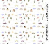 seamless pattern with hand... | Shutterstock .eps vector #2052598109
