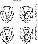 lion icons set isolated on...