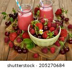 various fruit in a bowl on... | Shutterstock . vector #205270684