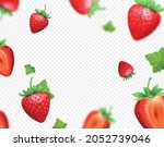 strawberry with green leaves... | Shutterstock .eps vector #2052739046