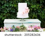 decorated cake with flowers on... | Shutterstock . vector #205282636