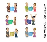 people giving gifts set  ... | Shutterstock .eps vector #205286989