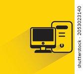 desktop computer with shadow on ...   Shutterstock .eps vector #2053023140