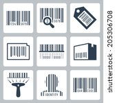 bar code related vector icons... | Shutterstock .eps vector #205306708