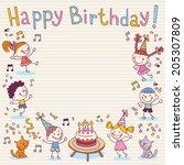 happy birthday card | Shutterstock .eps vector #205307809