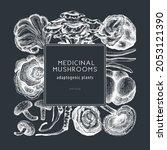 medicinal mushroom frame on...   Shutterstock .eps vector #2053121390