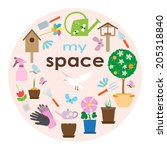 garden card design. vector... | Shutterstock .eps vector #205318840