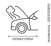 Car Engine Damage Linear Icon....