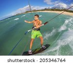kiteboarding  fun in the ocean  ... | Shutterstock . vector #205346764