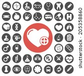 medical and hospital icons set | Shutterstock .eps vector #205358860