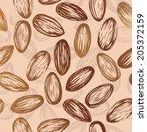 almond nut seamless vector... | Shutterstock .eps vector #205372159