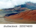 haleakala crater with trails in ... | Shutterstock . vector #205374850