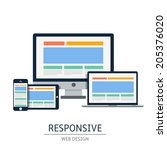 fully responsive web design in... | Shutterstock .eps vector #205376020