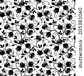 black seamless floral pattern...