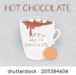 cup of hot chocolate with... | Shutterstock .eps vector #205384606