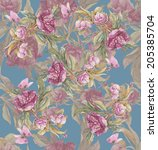 peonies and butterfly. floral... | Shutterstock . vector #205385704