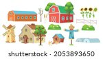 farm set with a greenhouse ... | Shutterstock .eps vector #2053893650
