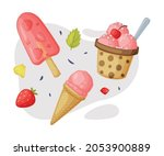 Ice Cream Cup And Fruit Frozen...
