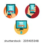 vector set of flat icons... | Shutterstock .eps vector #205405348