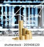 gold the coins and graph them  | Shutterstock . vector #205408120