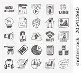 doodle internet web icon set | Shutterstock .eps vector #205412860
