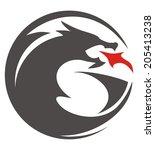 dragon circle shilouette   Shutterstock .eps vector #205413238