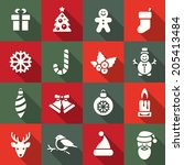 christmas icon set | Shutterstock .eps vector #205413484