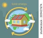 solar energy house panel...   Shutterstock .eps vector #205427674