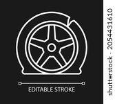 Tyre Damage White Linear Icon...