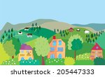 landscape with mountain hills ... | Shutterstock .eps vector #205447333