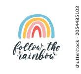 follow the rainbow trendy hand...   Shutterstock .eps vector #2054485103