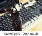 detail view of game joystick... | Shutterstock . vector #205450960