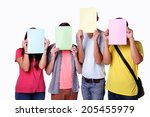 friend group of happy student... | Shutterstock . vector #205455979