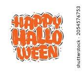 happy halloween text  halloween ... | Shutterstock .eps vector #2054576753