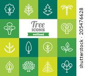 set of flat tree icons  | Shutterstock .eps vector #205476628