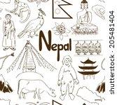 Fun Sketch Nepal Seamless...