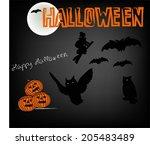 set of halloween decorative... | Shutterstock .eps vector #205483489