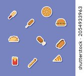 fast food sticker icon style...