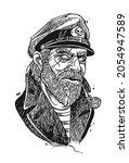 old pirate captain smocking...   Shutterstock .eps vector #2054947589