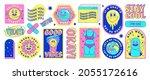 sticker pack of funny cartoon... | Shutterstock .eps vector #2055172616