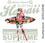 floral hawaii surfing  vector... | Shutterstock .eps vector #205522048
