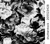 Stock photo seamless monochrome floral pattern with roses on dark background watercolor 205523428