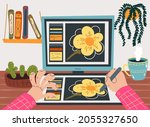freelancer designer working... | Shutterstock .eps vector #2055327650