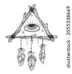 boho dream eye catcher hand... | Shutterstock .eps vector #2055338669