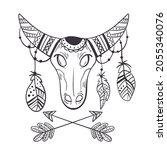 boho style bull sketch design... | Shutterstock .eps vector #2055340076